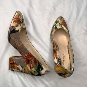Nine West Le Roux Floral Velvet Chunky Heels